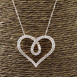 Jewelry - Heart Shape Diamond Pendant w/Chain 18K RG 1.37Ct